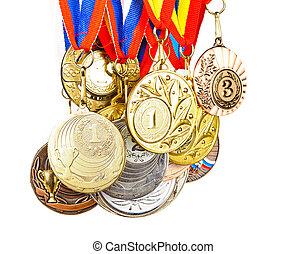 esportes, medalha, fotografias, isolado, branca, fundo