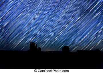 Long Exposure Star Trail Image at Night - Monument Valley...