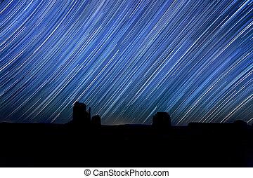 largo, exposición, estrella, rastro, imagen, noche