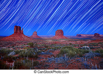 Daylight and Star Trail Image of Monument Valley Arizona USA