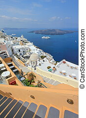 Fira and Santorini islands, Greece - View on the volcano and...