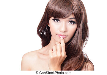 Pretty portrait closeup face and hand touching lips