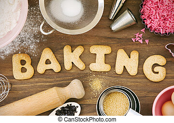 Baking cookies - Cookies forming the word baking