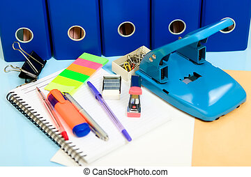 Office supply - All the office supply on the desk.
