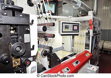industrial, printshop:, Flexo, prensa, impresión