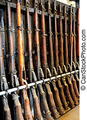 Firearms - Shotguns and Rifles - Antique Wooden Gun Cabinet...