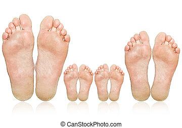 Family. The large and small feet. Caucasian feet