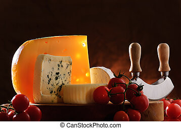 Still-life with cheese and tomatoes