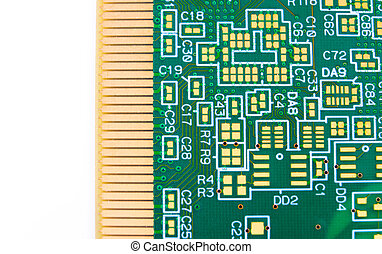 Printed circuit board with no elements. Close-up Photos