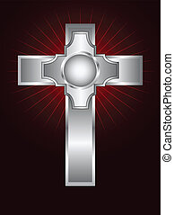 An ornate silver cross on a maroon