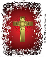 A gold cross on a christmas background with a snowy border