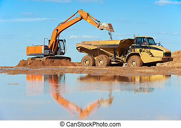 wheel loader excavator and tipper dumper - wheel loader...