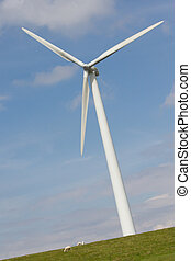 Close up of Wind turbine producing alternative energy on a...