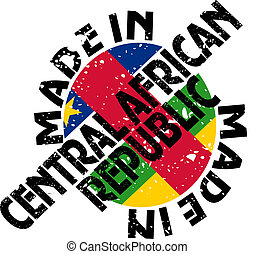 Made in Central African Republic - vector label Made in...