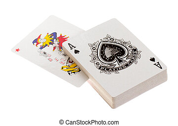 Playing cards, an ace and a joker