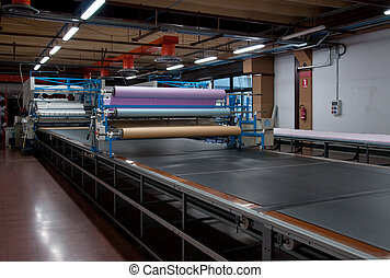 Clothing factory - Automatically cutting textile web