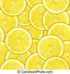Seamless pattern of yellow lemon slices - Abstract...