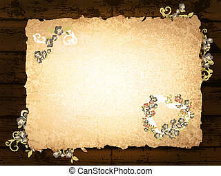 burnt paper at wooden background - vintage grunge burnt...