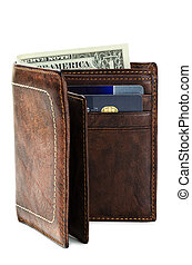 Wallet made ??of genuine leather over white background