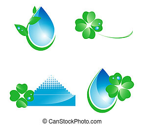 Water and leaf design elements