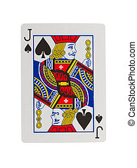 Old playing card (jack) isolated on a white background