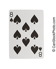 Old playing card (eight) isolated on a white background