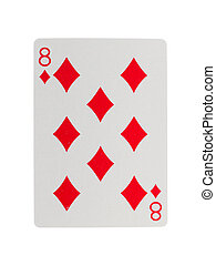 Playing card (eight) isolated on a white background