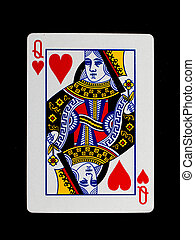 Playing card (queen) isolated on a white background