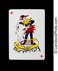 Playing card (joker) isolated on a black background