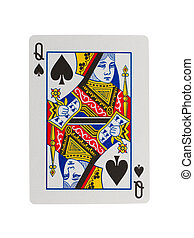 Old playing card queen isolated on a white background