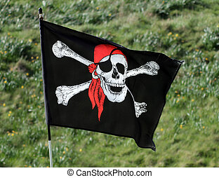 Pirate flag - Skull and cross bones pirate flag with green...