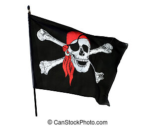 Pirate flag - Skull and cross bones pirate flag isolated on...