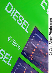 Gasoline price sign - Euro