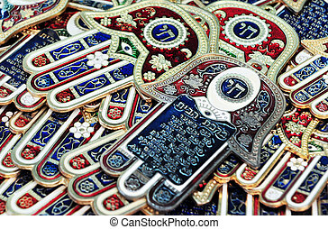The Hamsa Hand - Many Hamsa hands for sale in a shops in the...