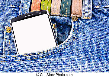 Mobile phone in your pocket jeans. Close-up Photos