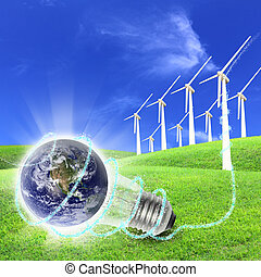 Wind turbines farm energy production to the world - Elements...