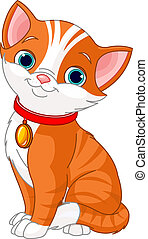 Cute cat - Illustration of Cute cat wearing a red collar...