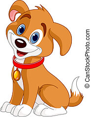 Cute Dog - Illustration of cute puppy, wearing a red collar...
