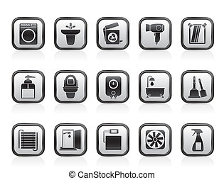 Bathroom and toilet icons - Bathroom and toilet objects and...