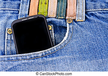 Mobile phone in your pocket jeans Close-up Photos