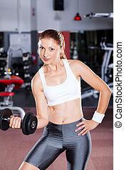 mujer,  Dumbbell, ejercicio, condición física