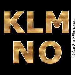 Gold Letters Set K-O - Gold Letters K,L,M,N,O
