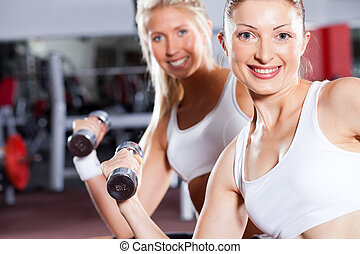 fitness women doing dumbbell exercise