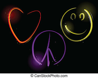 Love Peace and Happiness - Light streaks form a heart, peace...