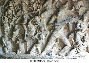 Mamallapuram Temple Tamil Nadu - Durgas fighting against...