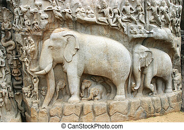 Mamallapuram Temple Tamil Nadu - Descent of the Ganga, a...