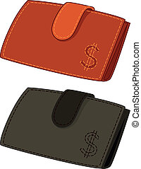 Leather wallets with dollar signs