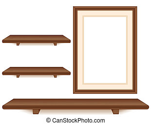 Mahogany Shelves, Picture Frame - Wall group, three mahogany...
