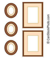 Picture Frame Gallery, Mahogany - Wall gallery of three...