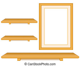Oak Wood Shelves, Picture Frame - Wall group, three oak wood...